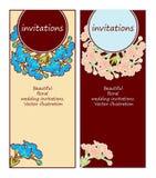 invitaciones florales de la boda Fotografía de archivo libre de regalías