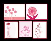 Invitaciones florales fijadas Fotos de archivo