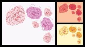 Invitaciones florales fijadas Imágenes de archivo libres de regalías