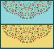 Invitaciones florales fijadas Foto de archivo libre de regalías
