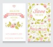 Invitaciones florales hermosas de la boda ilustración del vector