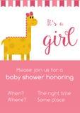Invitaion cor-de-rosa e branco para a festa do bebê da menina que honra com o grito ilustração stock
