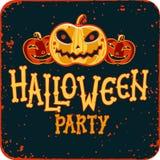 Invitation à la partie de nuit de Halloween Carte de vintage avec des potirons sur le fond foncé Descripteur de vecteur Réception Images libres de droits