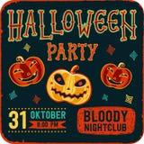 Invitation à la partie de nuit de Halloween Carte de vintage avec des potirons sur le fond foncé Descripteur de vecteur Réception Photos libres de droits