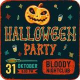 Invitation à la partie de nuit de Halloween Carte de vintage avec des potirons sur le fond foncé Descripteur de vecteur Réception Images stock