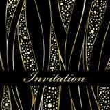 Invitation. Gold wedding card on black vector illustration