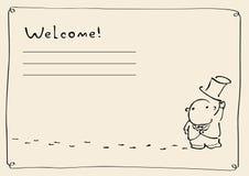 Invitation. Moomin troll with an invitation Royalty Free Stock Photography