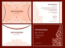 Invitation. Abstract decorative invitation cards with ornament stock illustration