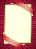 Invitation. With ribbons on red background Royalty Free Stock Photography
