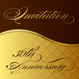 Invitation 50th anniversary. An elegant invitation for the 50th anniversary on a damask backdrop in gold with lettering Royalty Free Stock Photography