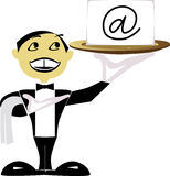 Invitation. Butler in tuxedo presenting a blank card on a tray Royalty Free Stock Photography