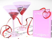 Invitation. Composition with two glasses and a card, for registration of the invitation to a holiday Royalty Free Illustration