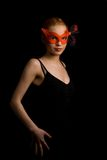 Invitation. Lady in red carnival mask inviting to dance Stock Image