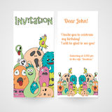 Invitation with abstract monsters pattern. Vector illustration Stock Image