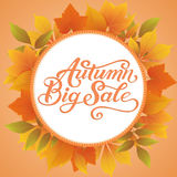 Invitation and announcement card with floral frame with autumn leaves and Autumn Big Sale text. Elegant ornate border Royalty Free Stock Image