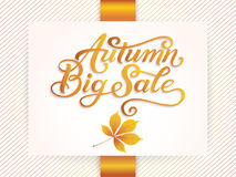 Invitation and announcement card with floral frame with autumn leaves and Autumn Big Sale text. Elegant ornate border Stock Photo