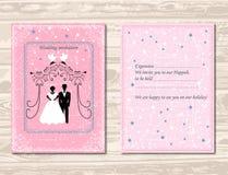 Invitation au Huppah Invitation rose à un mariage juif Mariée et marié illustration libre de droits