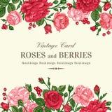 Invitation avec des roses Photographie stock