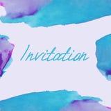 Invitation avec le fond d'aquarelle Photo stock
