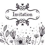 Invitation avec le fond floral abstrait Photo libre de droits