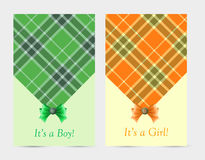 Invitation baby green and orange cards with bow Stock Photos