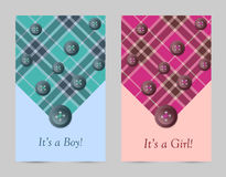Invitation baby pink and blue cards with bow Stock Image