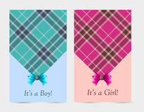 Invitation baby pink and blue cards with bow. Tartan, button. Greeting cards with the birth of a baby boy and a baby girl Royalty Free Stock Image