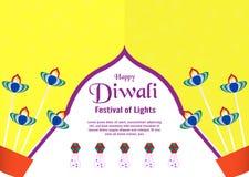 Invitation background for Diwali, festival of lights of Hindu. V. Ector illustration design in paper cut and craft style royalty free illustration
