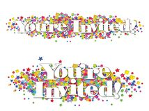 Invitation Banner Colorful Stars Confetti. Invitation Banner with colorful stars and confetti on an isolated white background two versions stock illustration
