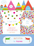 Invitation or banner for kids holiday - cute design of  Royalty Free Stock Photo
