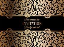 Invitation baroque antique de mariage, or sur le noir illustration stock