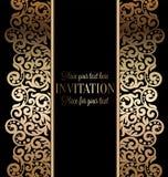 Invitation baroque antique de mariage, or sur le noir Photographie stock