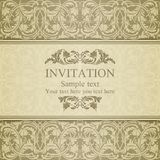 Invitation baroque, beige illustration stock