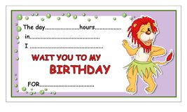 Invitation of birthday Stock Image