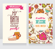 Invitation for birthday party, sweets and coffee Royalty Free Stock Photo