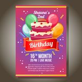 Invitation in birthday theme with party cake. Additional file in eps 10 royalty free illustration
