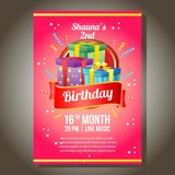 Invitation in birthday theme with present box. Additional file in eps 10 Stock Photos