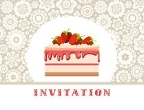 Invitation, strawberry cake, grey, floral background, vector. Invitation for birthday, wedding. A holiday, a family celebration. Cake with strawberries on a Stock Image