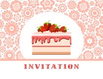 Invitation, strawberry cake, white pink, floral background, vector. Invitation for birthday, wedding. A holiday, a family celebration. Cake with strawberries on Stock Image
