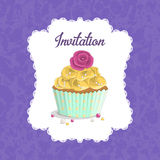 Invitation for a birthday, wedding, Valentine's Day, party. Sweet food dessert delicious cupcake poster on grunge squared background illustration Stock Image