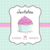 Invitation for a birthday, wedding, Valentine's Day, party. Sweet food dessert delicious cupcake retro poster on squared background illustration Royalty Free Stock Images
