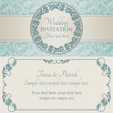 Invitation, bleu et beige baroques de mariage Photo stock