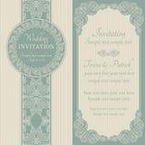 Invitation, bleu et beige baroques de mariage illustration stock