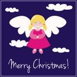 Invitation bleue de carte de Noël avec l'ange Photos libres de droits