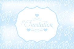 Invitation blue card. Vector illustration in paisley design with calligraphic text vector illustration
