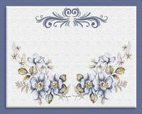 Invitation Blue floral on canvas royalty free stock images