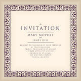 Invitation with border frame in Renaissance style. Template fram. Ework Wedding invitations or announcements with vintage background artwork Royalty Free Stock Photo