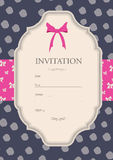 Invitation with the bow Stock Photo