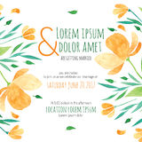 Invitation bridal shower card with orange flower Royalty Free Stock Photos