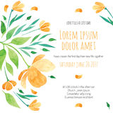 Invitation bridal shower card with orange flower Stock Photos